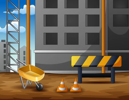 Construction site background with equipment 일러스트