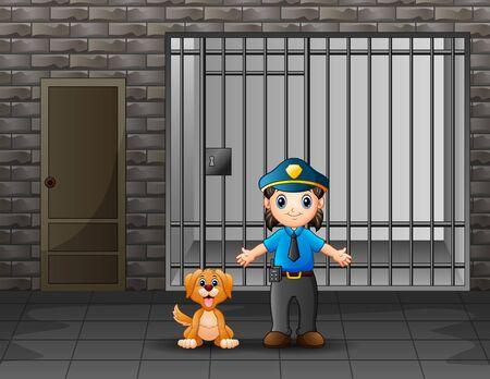 Die Polizei bewacht eine Gefängniszelle mit Hund