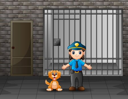 The police guarding a prison cell with dog Illustration