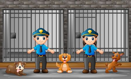 The police guarding a prison cell  イラスト・ベクター素材