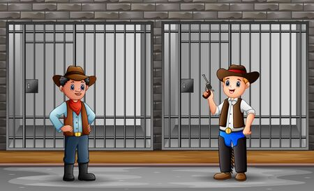 Prison interior with prisoners and police officers  イラスト・ベクター素材