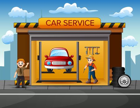 Cartoon workshop with mechanic crew repairing a car