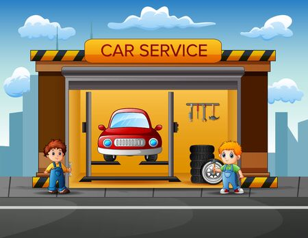 Mechanics want to repairing car in garage