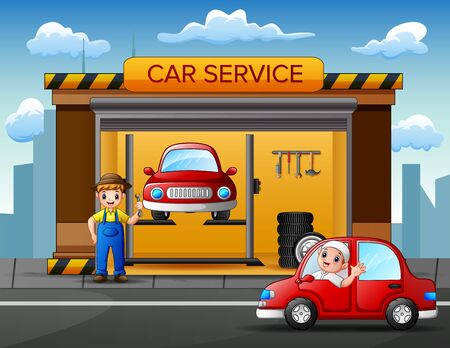 Auto repair shop service workers fixing car