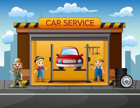 Cartoon car repair garage with repairman, car and set of tools