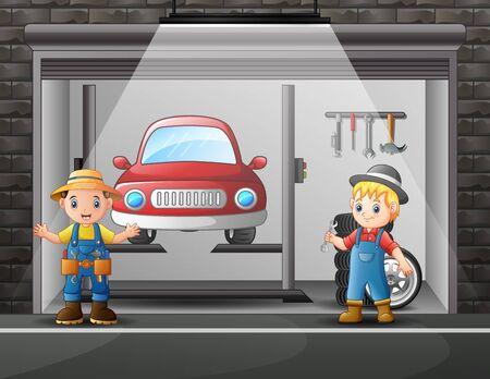 Auto repair shop service workers cartoon indoor 일러스트