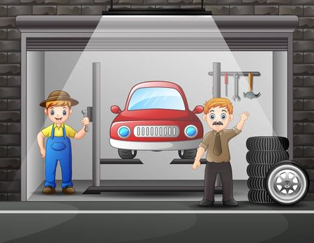 Workshop car repair with elements and worker man