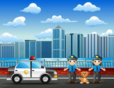 Police officer male and female on the city street Illustration