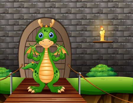 A dragon showing thumb up and standing on suspension bridge
