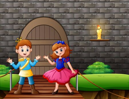A prince and snow white in front the house