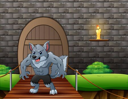 Cartoon werewolf on suspension bridge