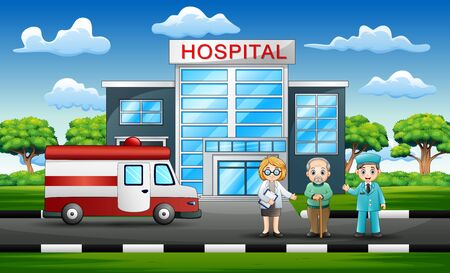 Front side view of hospital with a doctor , patient and ambulance