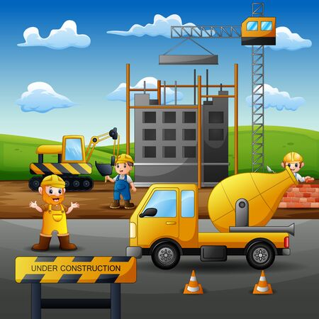 Construction concept with workers and machines building house cartoon 일러스트
