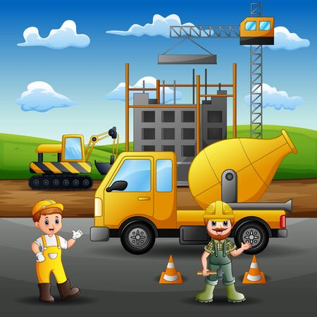 Construction worker at work with crane and machine