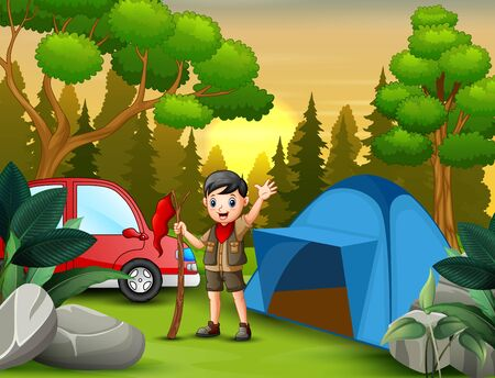 Scout boy with the red flag standing near a tent Illustration