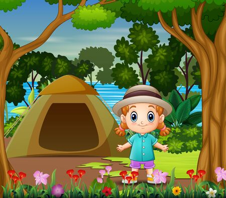 Cute little girl camping out by the river landscape