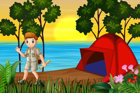 The explorer boy camping by the lake