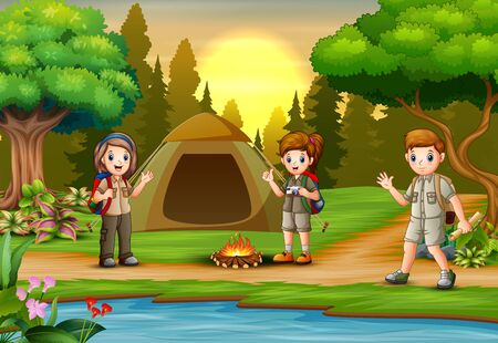 Children scout people adventure camping