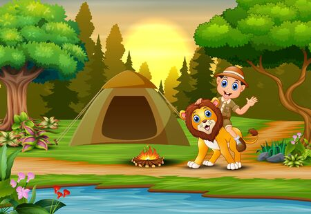 Zookeeper boy and a lion in campsite at sunset landscape 일러스트