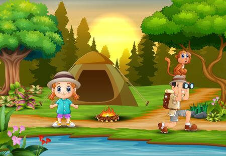 Boy explorer and a girl camping out in nature 일러스트