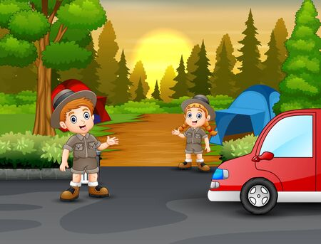 Young scout talking in camping zone scene