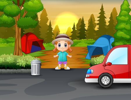 A little girl in the campsite 일러스트