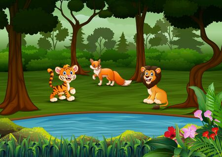 Cartoon many wild animals in the forest