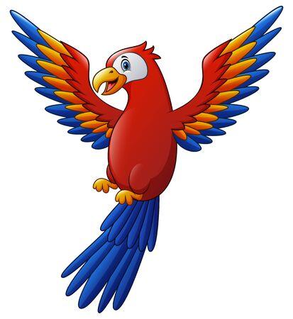 Cute macaw bird cartoon flying Foto de archivo - 130081829
