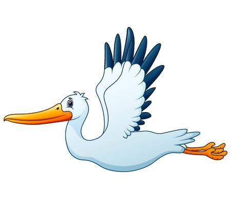Cartoon white stork flying Ilustrace