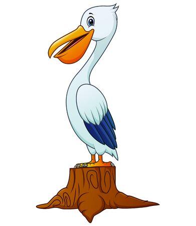 A pelican bird cartoon standing on tree stump