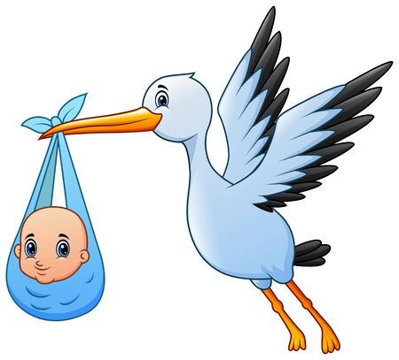 Cute cartoon a stork flying with baby boy Ilustrace