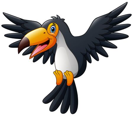 Cartoon happy bird toucan flying