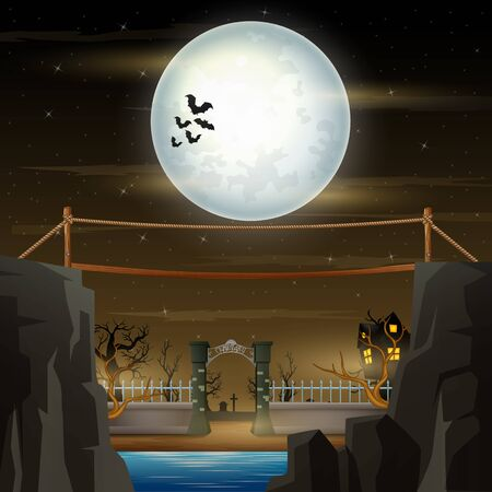 Halloween night with bridge and haunted graves