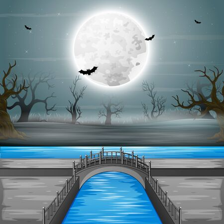 Arch bridge with full moon background