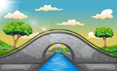 Cartoon landscape with arch bridge and mountains background 일러스트