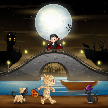 Halloween night background with vampire, mummy and cats 일러스트