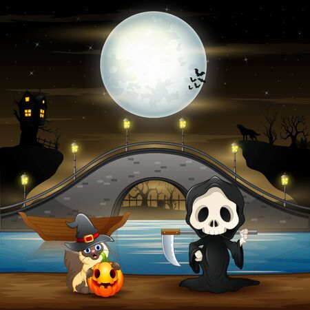 Night scene with grim reaper in the riverside