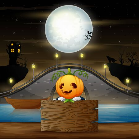 Cartoon scarecrow with wooden board in halloween night