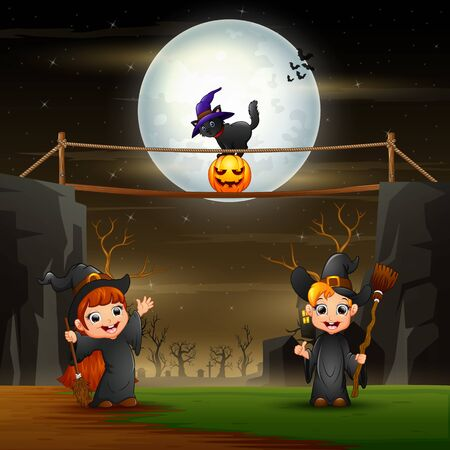 Halloween background with witches in the night 일러스트