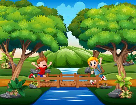 Happy boys ran across the wooden bridge Vetores