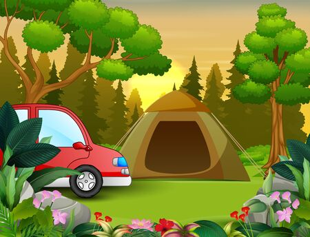 Summer vacation on the nature landscape