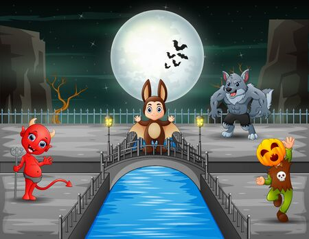 Halloween background with funny cartoon character