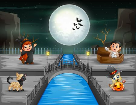 Happy vampire and witch on halloween party 일러스트