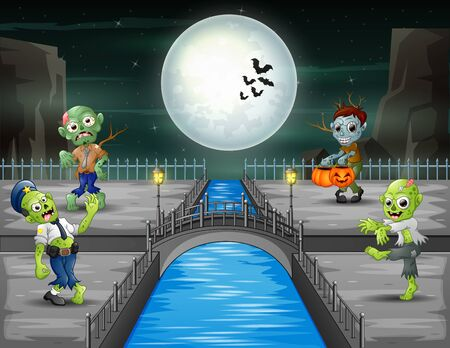 Halloween night landscape with zombies 일러스트