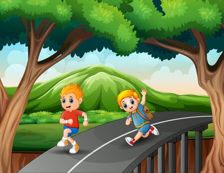 Little boys running on the road