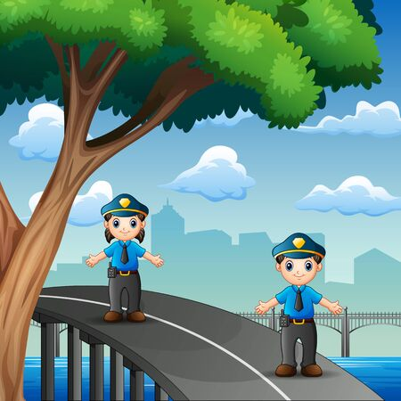 The police on duty on the highway Illustration