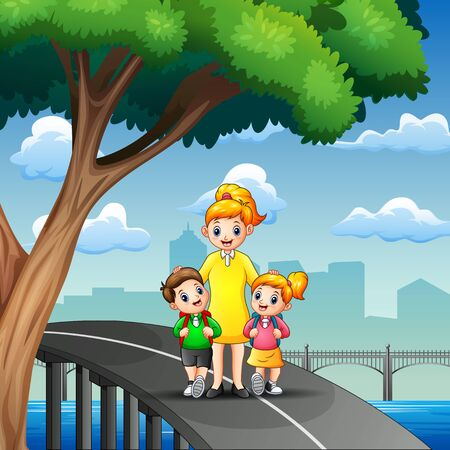 Happy children go to school with their mom