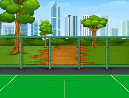 Tennis court in the park with city background  イラスト・ベクター素材