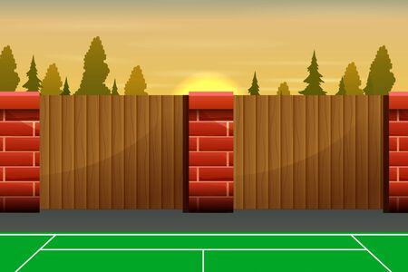 Tennis outdoors court with wooden fence