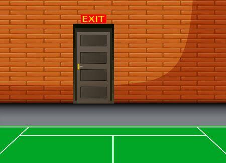 Background of indoor court with exit